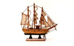 Wooden Ship Model On White Background stock image