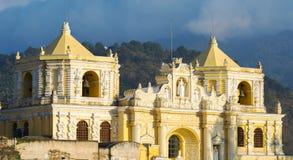 Baroque Yellow Church In Antigua Guatemala royalty free stock image