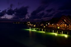 Baros by Night. This picture is taken at Baros, Maldives and shows the tropical island by night stock images