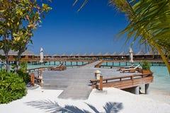 Baros Water Villas. This picture shows the water villas of baros, Maldives stock photos