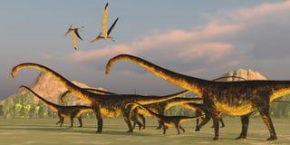 Barosaurus-Dinosaurier-Herde lizenzfreie abbildung