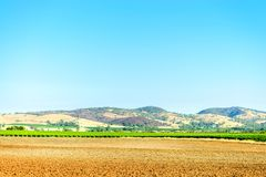Barossa Valley farm field on a day. Barossa Valley farm field with hills on the background, South Australia Royalty Free Stock Photography