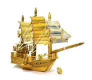Barque. Gold wood Inventions crafts Royalty Free Stock Image