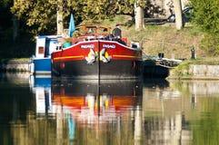 Barque Fandango - Canal du Midi. The Barque Fandango on the Canal du Midi in the Aude region of Languedoc, France Stock Photos