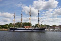 Barque at the harbor of Lubeck-Travemunde Royalty Free Stock Images