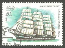 Barque Krusenstern. USSR - stamp 1981, Edition Sailing ships, Series Educational sailing fleet of the USSR, Four masted barque Krusenstern stock photography