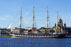 Barque Krusenstern w St Petersburg, Rosja Obrazy Royalty Free