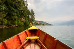 Barque on Phewa Lake in Pokhara Stock Images