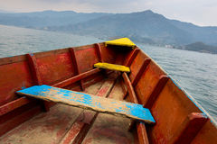 Barque on Phewa Lake in Pokhara Royalty Free Stock Photography