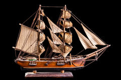 Barque. A barque is a sailing vessel with three masts having the foremasts rigged square and only the aftermast rigged fore-and-aft royalty free stock images