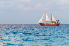 Barque at the sea. Barque at the Beautiful blue sea royalty free stock photography