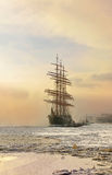 Barque Sedov. Was launched in Kiel in 1921,icebound anchored in St. Petersburg,Russia royalty free stock images