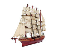 Barque ship gift craft model wooden. Isolated white background stock photography