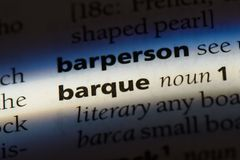 Barque. Word in a dictionary.  concept royalty free stock photo