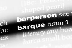 Barque. Word in a dictionary.  concept stock photo