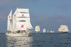Barquentine Shabab Oman Tall ships races 2013. Shabab Oman in light wind during racestart in southern Baltic Sea. RNOV Shabab Oman is a barquentine which serves Royalty Free Stock Images