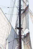 Barquentine yacht sails and rigging background Stock Photography
