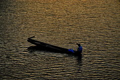 Barquero en el mar Foto de archivo libre de regalías