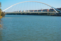 Barqueta bridge. The Barqueta bridge is located in Seville (Spain) and cross teh Guadalquivir river. It connects the downtown with Cartuja isle, a new zone royalty free stock photo