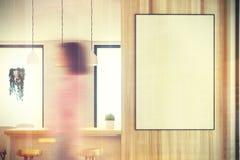 Barra bianca e di legno della cucina, manifesto tonificato Immagini Stock Libere da Diritti