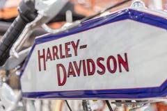 BARRA BONITA BRASILIEN - JUNI 17, 2017: Tappning Harley-Davidson mo Royaltyfria Bilder
