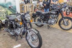 BARRA BONITA, BRAZILIË - JUNI 17, 2017: Uitstekende Koninklijke Enfield-moto Stock Afbeeldingen