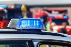 Barra clara azul em um carro de polícia alemão Fotografia de Stock Royalty Free