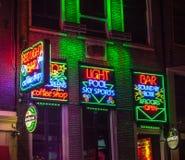 Barra clara vermelha em Amsterdão Imagens de Stock Royalty Free
