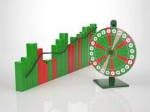 Barra colorida Diagramm com roda da fortuna ilustração stock