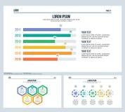A barra, comparation, swot, ajustou a corrediça da apresentação e o molde de PowerPoint ilustração royalty free