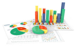 barra 3D e gráfico de setores circulares Imagens de Stock