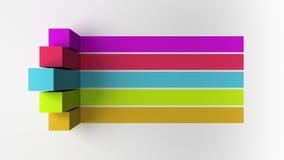 barra 3D Grafico quadrato della casella titolo di introduzione cinque, modello di presentazione di PowerPoint versione 3 illustrazione di stock