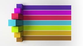barra 3D Grafico quadrato della casella titolo di introduzione sette, modello di presentazione di PowerPoint versione 3 illustrazione vettoriale