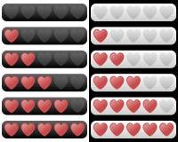 Barra da avaliação com corações vermelhos Fotos de Stock Royalty Free