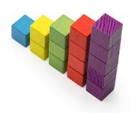 Barra da carta da escada de Infographic, crianças Toy Blocks Info Graphic Foto de Stock Royalty Free
