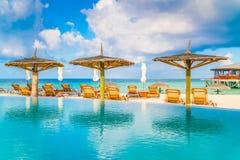Barra da piscina na ilha tropical de Maldivas Fotos de Stock