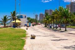 Barra da Tijuca beach with mosaic of sidewalk  in Rio de Janeiro Stock Photos