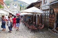 Barra de café da rua de Mostar Imagem de Stock