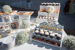 Barra de caramelo de la boda del destino de la playa Fotografía de archivo libre de regalías