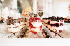 Barra de caramelo deliciosa de la recepción nupcial Imagen de archivo