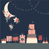 Barra de caramelo de la boda con la torta y las flores Tabla del postre Vector ilustración del vector