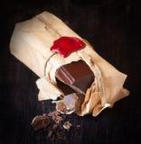 Barra de chocolate. foto de stock