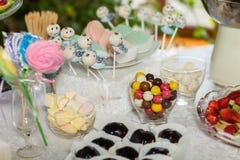 Barra de chocolate com doces Bolo, cookies, limonada, queques cremosos, bagas frescas para o anivers?rio comemorativo imagens de stock