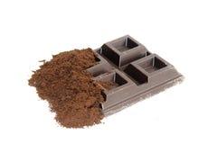 Barra de chocolate con cacao Fotos de archivo