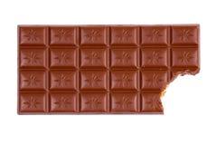 Barra de chocolate con la mordedura Imagen de archivo