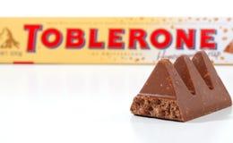 Barra de chocolate de Toblerone Fotografia de Stock Royalty Free