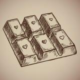 Barra de chocolate del grabado Chocolate delicioso y dulce con un corazón en cada célula Menú del grabado para el restaurante Fotografía de archivo libre de regalías