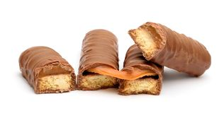 Barra de chocolate do caramelo Fotos de Stock