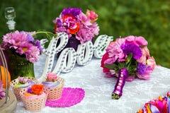 Barra de chocolate do casamento Imagens de Stock Royalty Free