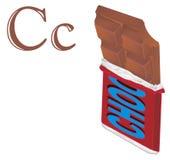 Barra de chocolate e letras marrons ilustração royalty free